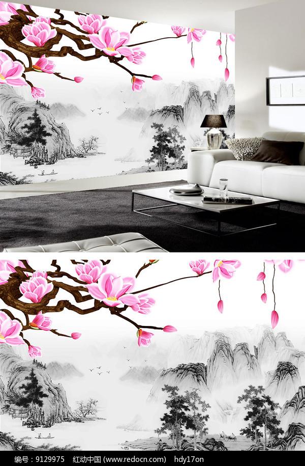 花鸟中式陋室铭水墨山水背景墙图片