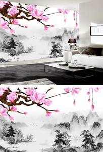 花鸟中式陋室铭水墨山水背景墙