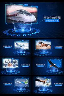 蓝色科技感图文展示AE模板