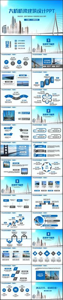 蓝色桥梁高架桥立交桥PPT pptx