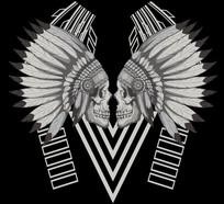 流行骷髅印第安人图案