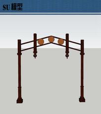 木质牌坊su模型