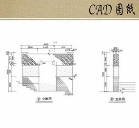 欧式景墙立面CAD