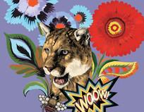 狮子头和花的组合图案