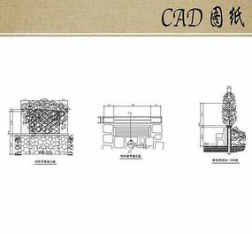 特色景观墙平立剖面CAD
