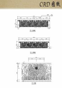 叶子图案景墙CAD
