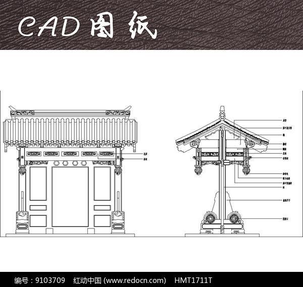 原创设计稿 cad图库 围墙|栏杆|大门 中式垂花门cad  请您分享: 红动图片