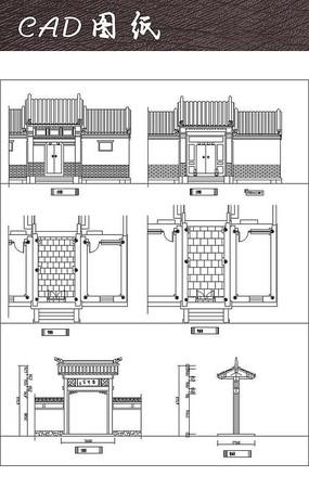 中式垂花门cad