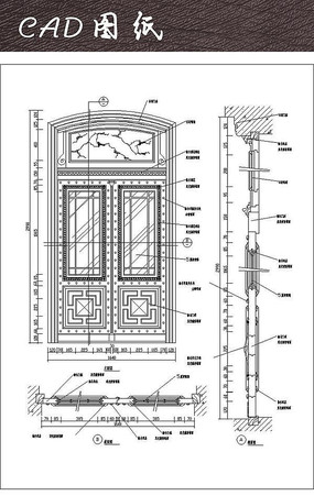 中式大门CAD详图