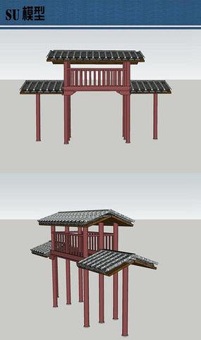 中式简易牌坊su模型