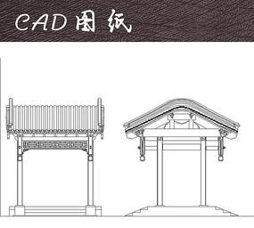 中式建筑入口构筑CAD