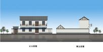 中式民居小院建筑立面图