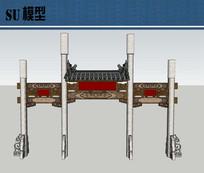 中式牌坊su模型