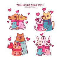 动物夫妇插图素材