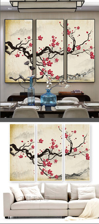 中式工笔花鸟梅花三联装饰画