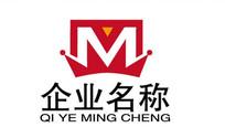 字母M皇冠商务logo AI