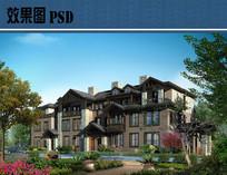 别墅建筑设计效果图PSD