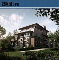 别墅建筑透视效果图JPG