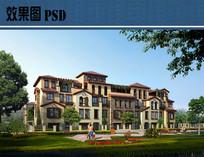别墅建筑效果图PSD