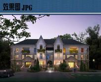 别墅建筑夜景效果图JPG