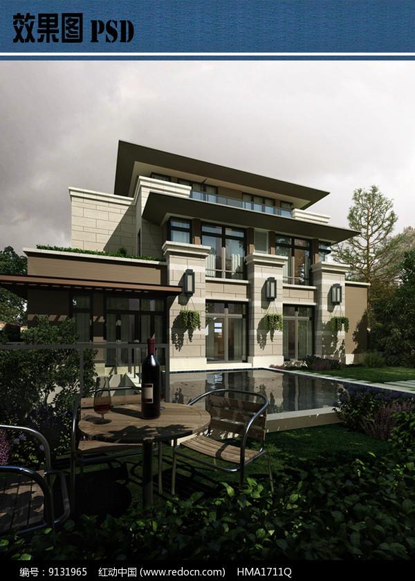 别墅庭院景观效果图PSD图片