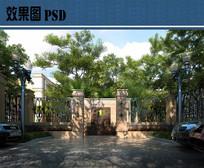 别墅住宅区入口效果图PSD