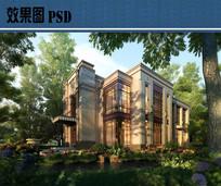 滨水别墅效果图PSD