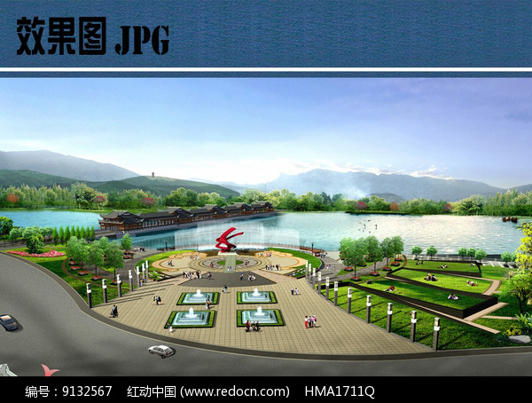 滨水公园入口广场鸟瞰图图片