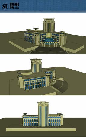 城市图书馆su模型