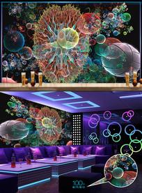 大气花朵分形酒吧背景墙