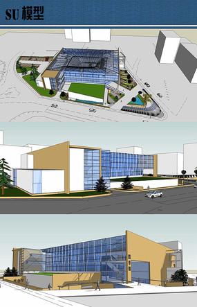 大学图书馆建筑设计SU模型