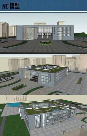 大学图书馆设计su模型