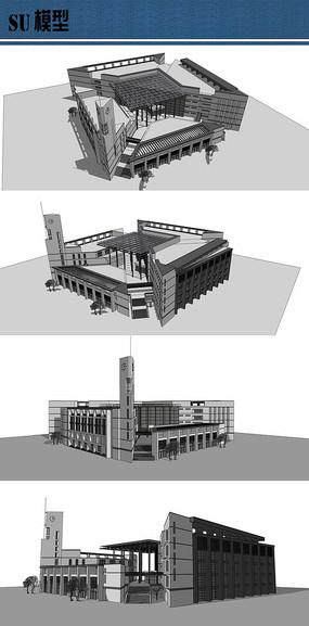 大学图书馆su模型