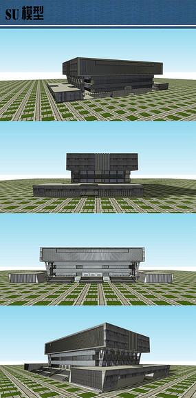 大学校园图书馆su模型