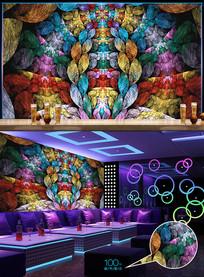 动感五彩分形酒吧背景墙