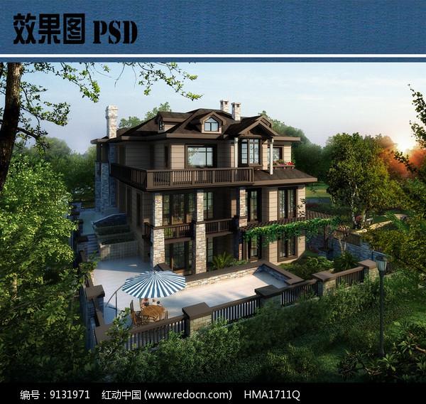 独栋别墅效果图PSD图片