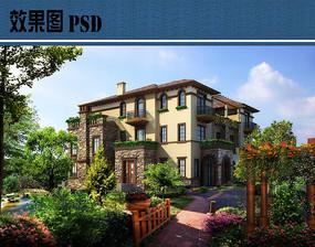 花园洋房别墅效果图PSD