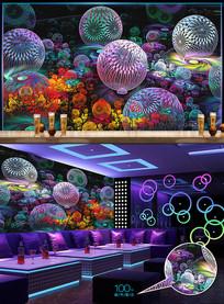 炫酷花朵分形钻石酒吧背景墙