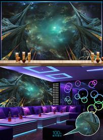 炫酷宇宙星空酒吧背景墙