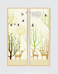 山水花鸟装饰画二联无框画