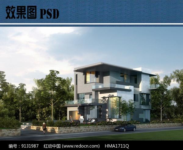 私家别墅建筑效果图PSD图片