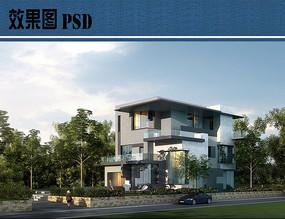 私家别墅建筑效果图PSD