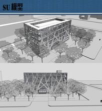 特色图书馆建筑模型