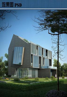 现代别墅设计效果图PSD