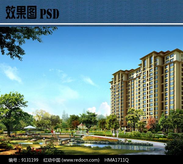 小区景观设计效果图PSD图片