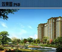 小区景观设计效果图PSD