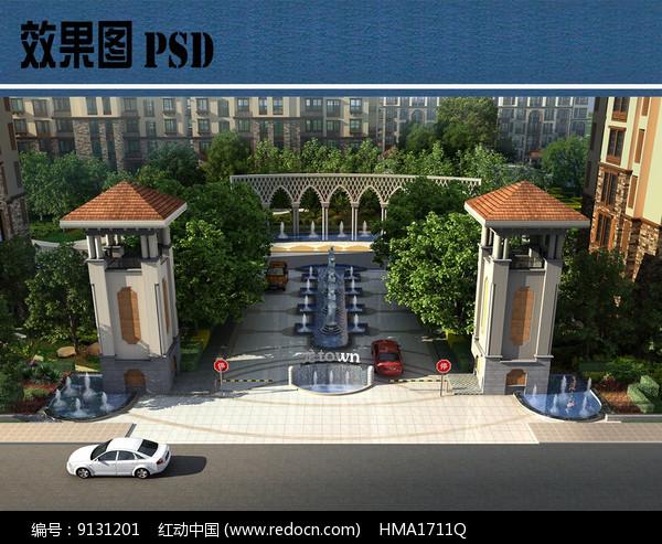 小区入口景观鸟瞰图PSD图片