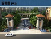 小区入口景观鸟瞰图PSD