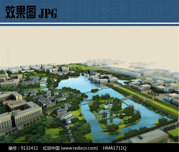 校园景观规划设计鸟瞰图图片