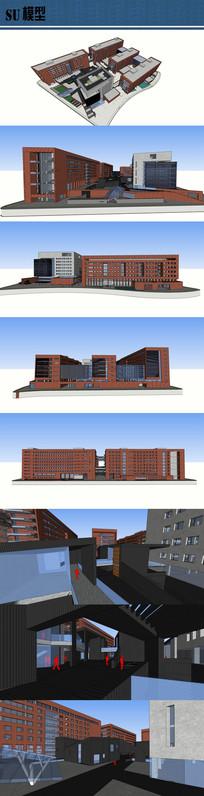 校园图书馆教学楼建筑su模型